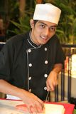 Chef in buffet dinner Royalty Free Stock Images