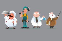 Chef builder chemist teacher. A vector illustration of a chef, builder, chemist and teacher vector illustration