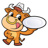 Chef Bull Character hand is holding a Plate. Royalty Free Stock Photos