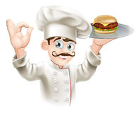 Chef with burger. Illustration of a chef holding a gourmet burger on a tray Royalty Free Stock Photos