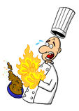 Chef burning hands on hot dish. A chef or cook burning their hands on a hot dish Royalty Free Stock Photos