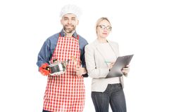 Chef and Businesswoman royalty free stock photography