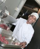 Chef at butcher royalty free stock images