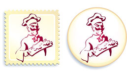 Chef on Button and Stamp Set Royalty Free Stock Image