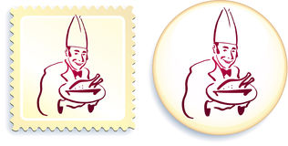 Chef on Button and Stamp Set Royalty Free Stock Photo