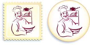 Chef on Button and Stamp Set Royalty Free Stock Photography