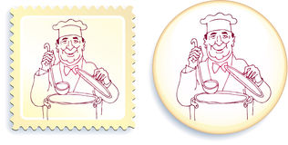 Chef on Button and Stamp Set Royalty Free Stock Photos