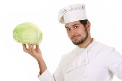 Chef and cabbage Royalty Free Stock Images