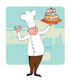 Chef with a cake. Cartoon young chef with a cake Stock Photo