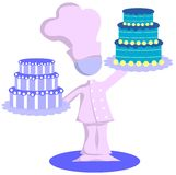 Chef with cakes. Illustration representing a stylized chef with two cakes royalty free illustration