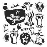 Chef Calligraphy et ensemble de griffonnage illustration stock