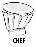 Chef Cap. Line illustration for the Chef Cap Stock Illustration