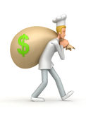Chef carries a bag of money Stock Photo