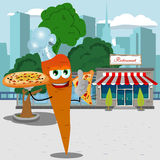 Chef carrot holding pizza with attitude in front of a restaurant Stock Images