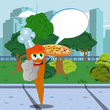 Chef carrot with pizza holding a stop sign in the city park with speech bubble Royalty Free Stock Image
