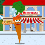 Chef carrot with pizza showing thumb up in front of a restaurant Royalty Free Stock Images