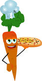 Chef carrot showing a delicious pizza Royalty Free Stock Photo