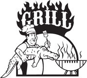 Chef Carry Alligator Grill Cartoon Stock Image