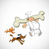 Chef carrying a bone for dogs. Vector sketch Stock Images