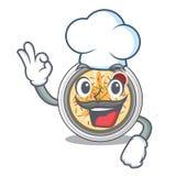 Chef cartoon buchimgae on a in plate royalty free illustration