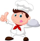 Chef cartoon holding a metal food platter and thumb up. Illustration of Chef cartoon holding a metal food platter and thumb up Stock Photography