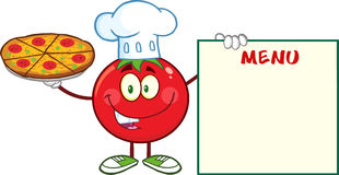 Chef Cartoon Mascot Character de tomate tenant un panneau de pizza et de menu Image stock