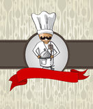 Chef cartoon restaurant menu design Stock Photo