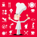Chef Cartoon with Restaurant Menu Icons on Red Background. Vector Chef Illustration with Spoon and Fork Royalty Free Stock Photo