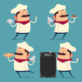 Chef cartoon set in retro style Royalty Free Stock Photography