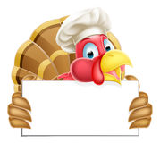 Chef Cartoon Turkey Sign Royalty Free Stock Photos