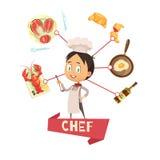 Chef Cartoon Vector Illustration pour des enfants Images libres de droits