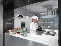 Chef with casserole in a cool industrial kitchen Stock Photo