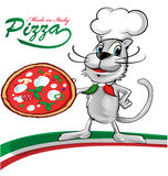 Chef cat cartoon with pizza Stock Photos
