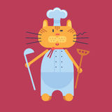 Chef cat in flat cartoon style Stock Photography