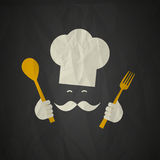 Chef. Character abstract crumpled paper background Royalty Free Stock Images