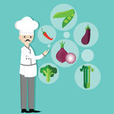 Chef character cartoon with hat and vegetables vegetarian ingredients onion, peas, chili, broccoli Stock Photography