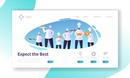 Chef Character with Dish Set Landing Page. Restaurant Cooking Concept. Professional People in Uniform Prepare Food Website. Or Web Page. Food Industry Flat stock illustration