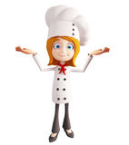 Chef character with  presentation sign Stock Photos