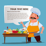 Chef character presenting with Kitchen table and ingredients for. Cooking. speech bubble for replace your text - illustration royalty free illustration