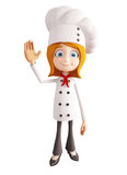 Chef character with saying hi pose Royalty Free Stock Photos