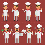 Chef character in various poses Royalty Free Stock Image