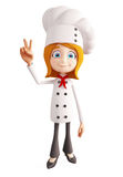 Chef character with victory sign Stock Image