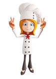 Chef character with victory sign Stock Photography