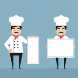Chef characters holding white banners Stock Photos