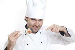 Chef in Chef's Hat with sushi Royalty Free Stock Photos