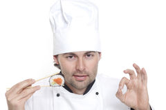 Chef in Chef's Hat with sushi Royalty Free Stock Images