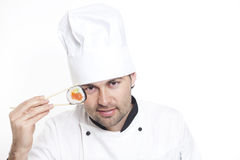 Chef in Chef's Hat with sushi Royalty Free Stock Photography