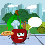 Chef cherry holding pizza with attitude in the city park with speech bubble Stock Photography
