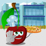 Chef cherry with pizza holding a stop sign in the city Royalty Free Stock Photos