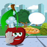 Chef cherry with pizza holding a stop sign in the city park with speech bubble Stock Images